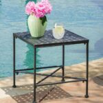 outdoor accent table patio furniture side end metal iron porch deck tables poolside new traditional cherry round covers set half for entryway make your own barn door yard and 150x150