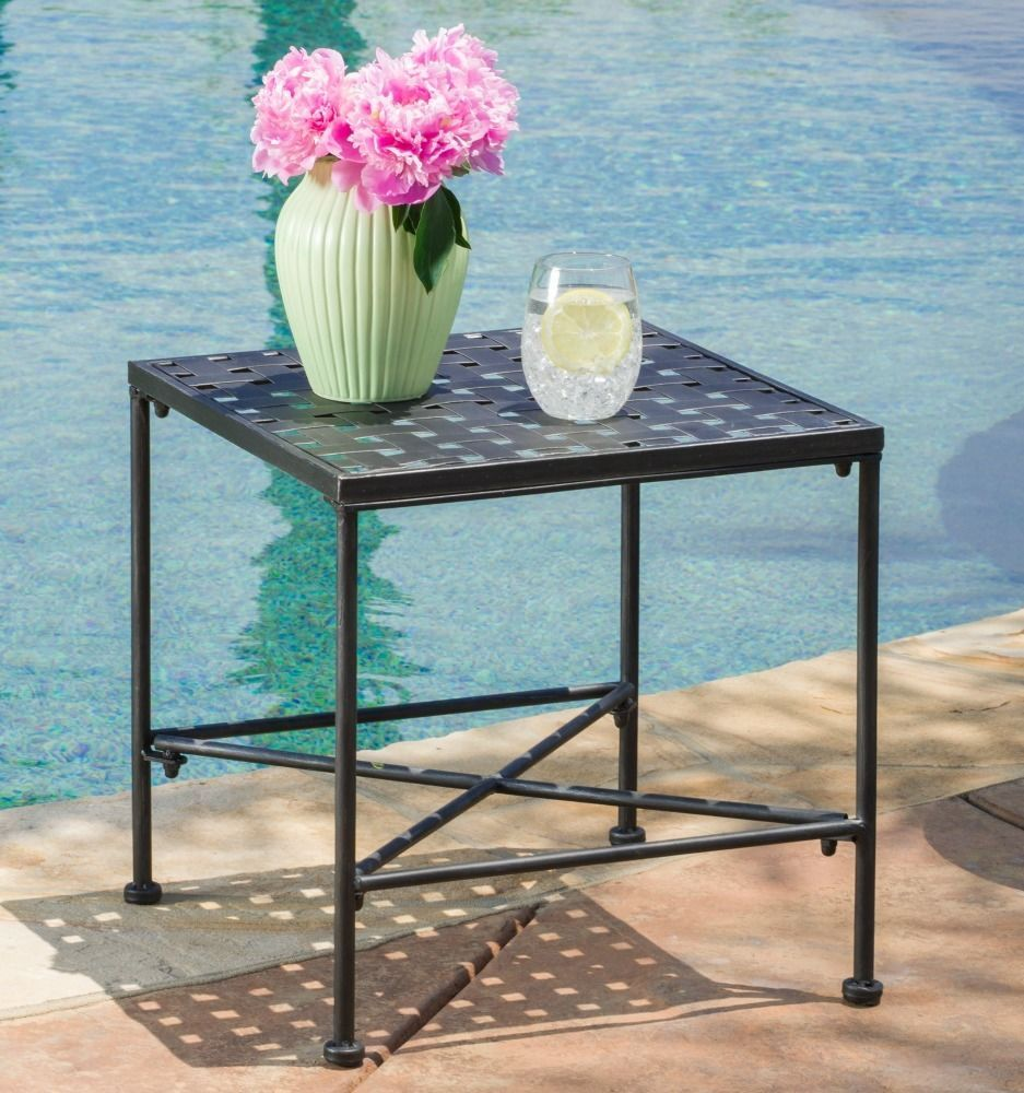 outdoor accent table patio furniture side end metal iron porch deck tables poolside new traditional cherry round covers set half for entryway make your own barn door yard and