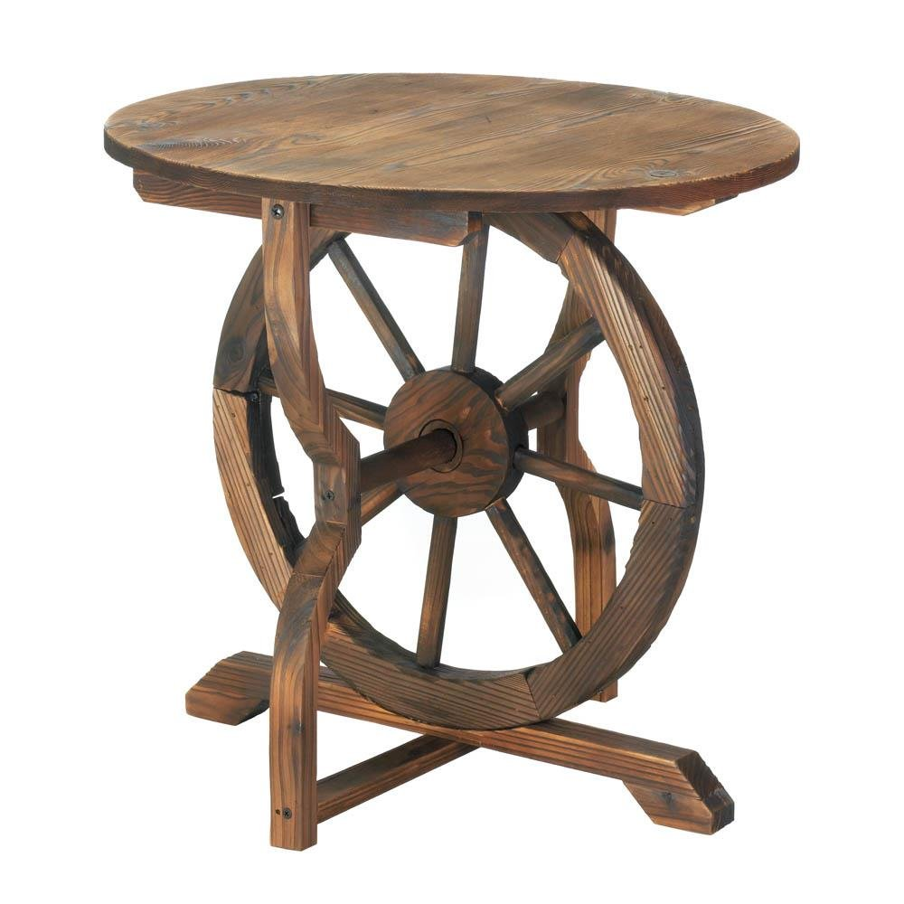 outdoor accent table wagon wheel indoor round side decor rustic patio tables end lamp with usb port kitchen cupboards small cloth mainstays marble the furniture linen tablecloth