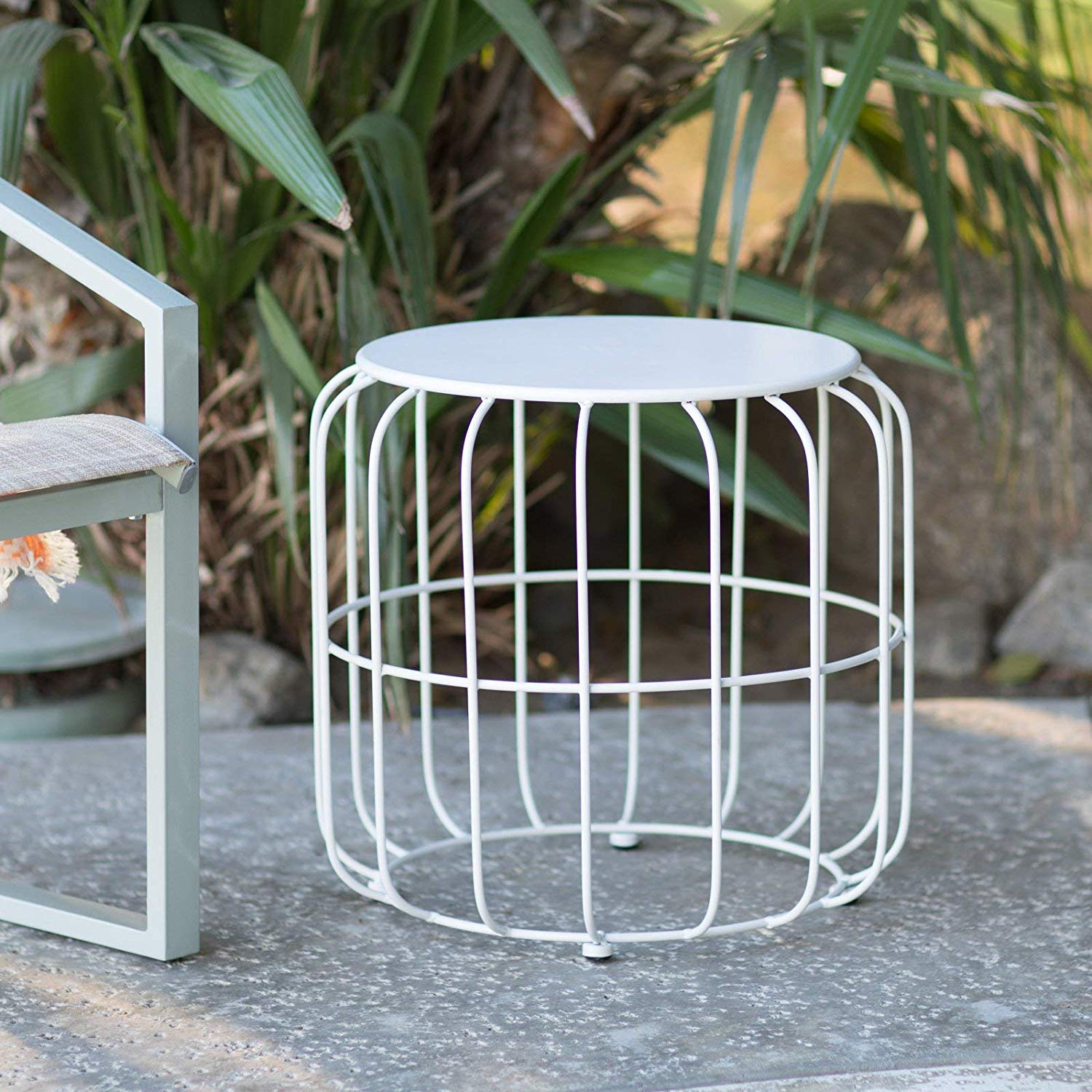 outdoor accents white metal wire cage style round drum patio side accent table end small distressed pneumatic throne zebra furniture slim couch black and cherry tables living room