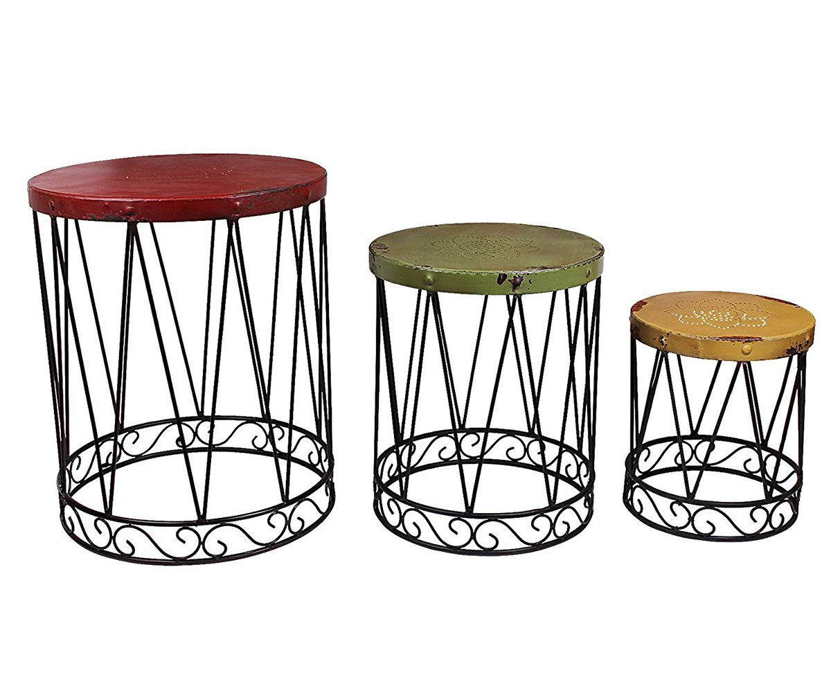 outdoor accents white metal wire cage style round drum patio side accent table end unusual bedside tables triangle shaped corner hampton bay furniture cushions designer lamp