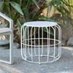 outdoor accents white metal wire cage style round drum patio side garden stool accent table end pottery barn kids wicker furniture foyer chest unfinished wood coffee and chairs 150x150