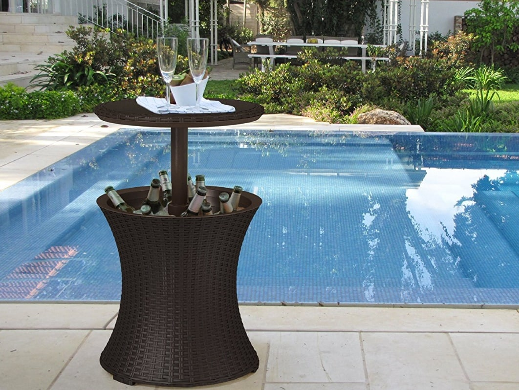 outdoor bar cooler tables gardenerers reviews rattan table side for use the pool patio furniture clearance cream and wood coffee garden bench seat bunnings stool set diy living