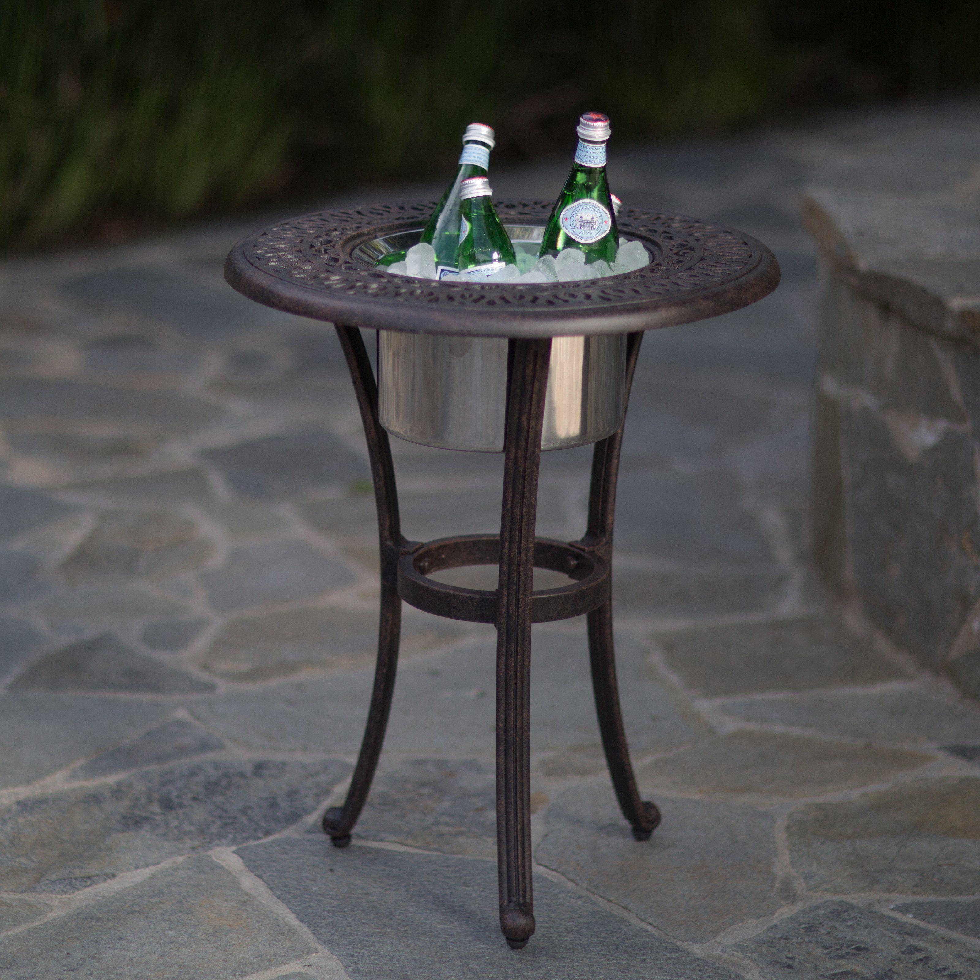 outdoor belham living beverage cooler side table with stainless steel bowl brass glass coffee nautical rope lights lamps and shades hammered end calgary white modern accent