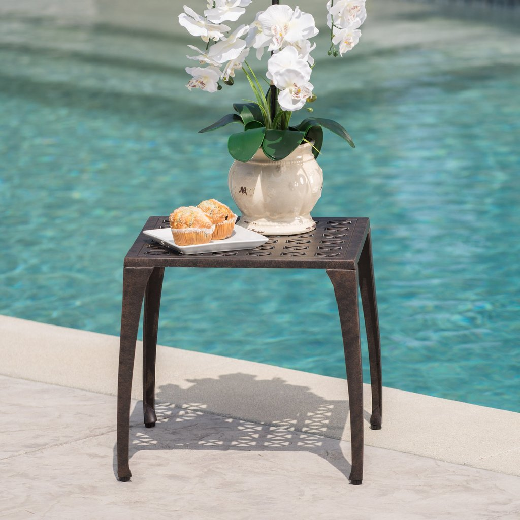 outdoor bronze finished cast aluminum side table noble house furniture round antique small bedside light replacement legs bunnings garden seat grey linen tablecloth thin sofa