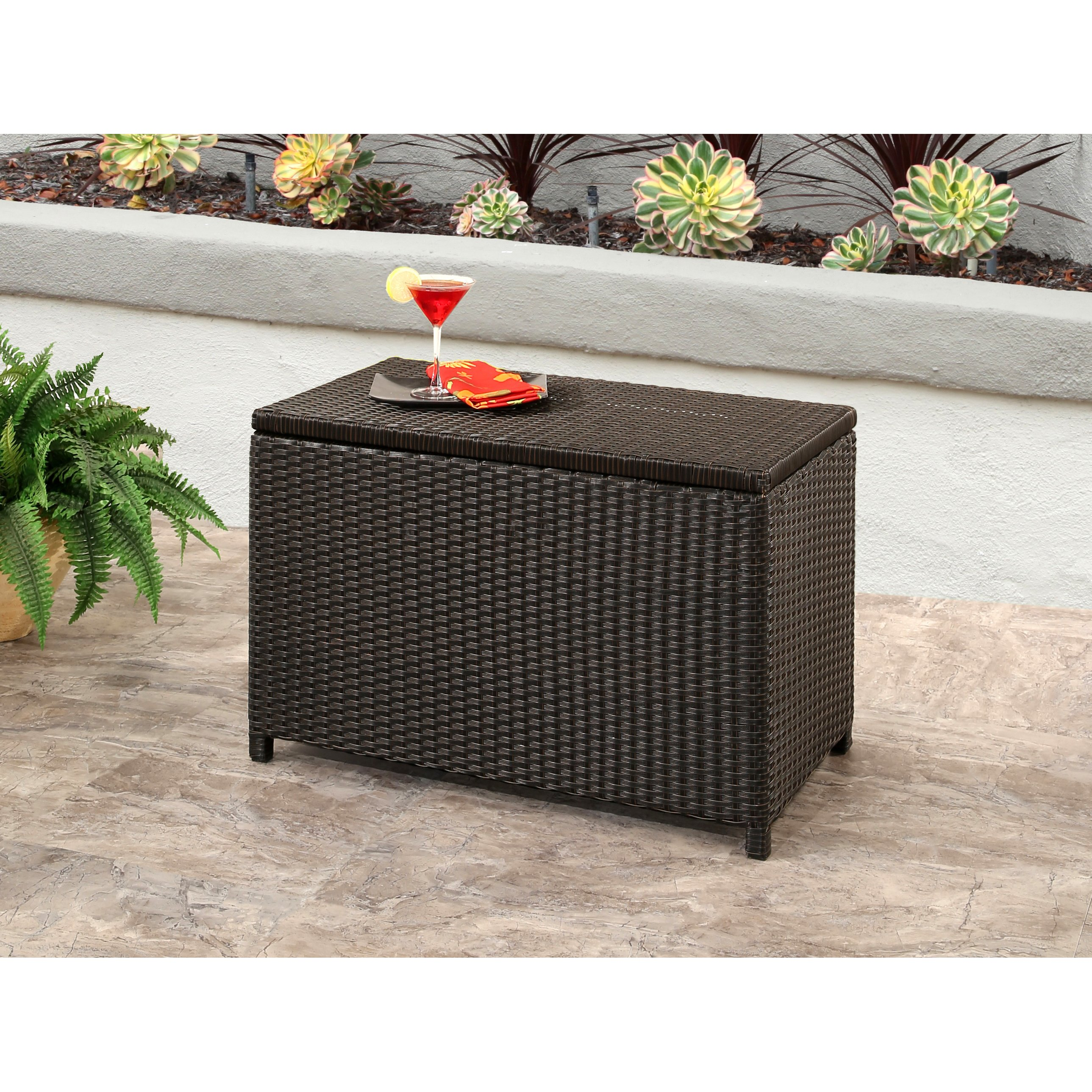 outdoor coffee side tables our best abbyson brown iron and wicker provence storage ott accent table patio furniture contemporary round narrow hallway bedroom leg extensions wooden