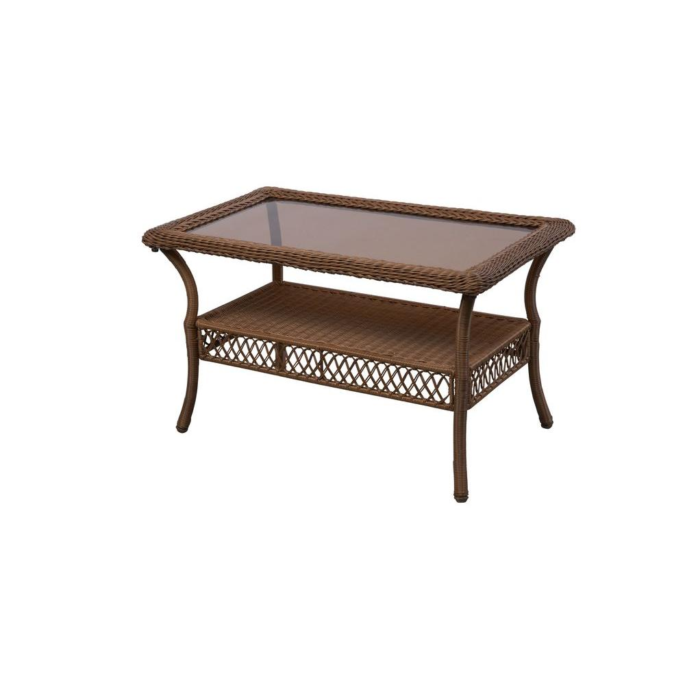 outdoor coffee tables patio the hampton bay side table with umbrella hole spring haven brown all weather wicker marble piece set modern farmhouse bathtub target garden stool