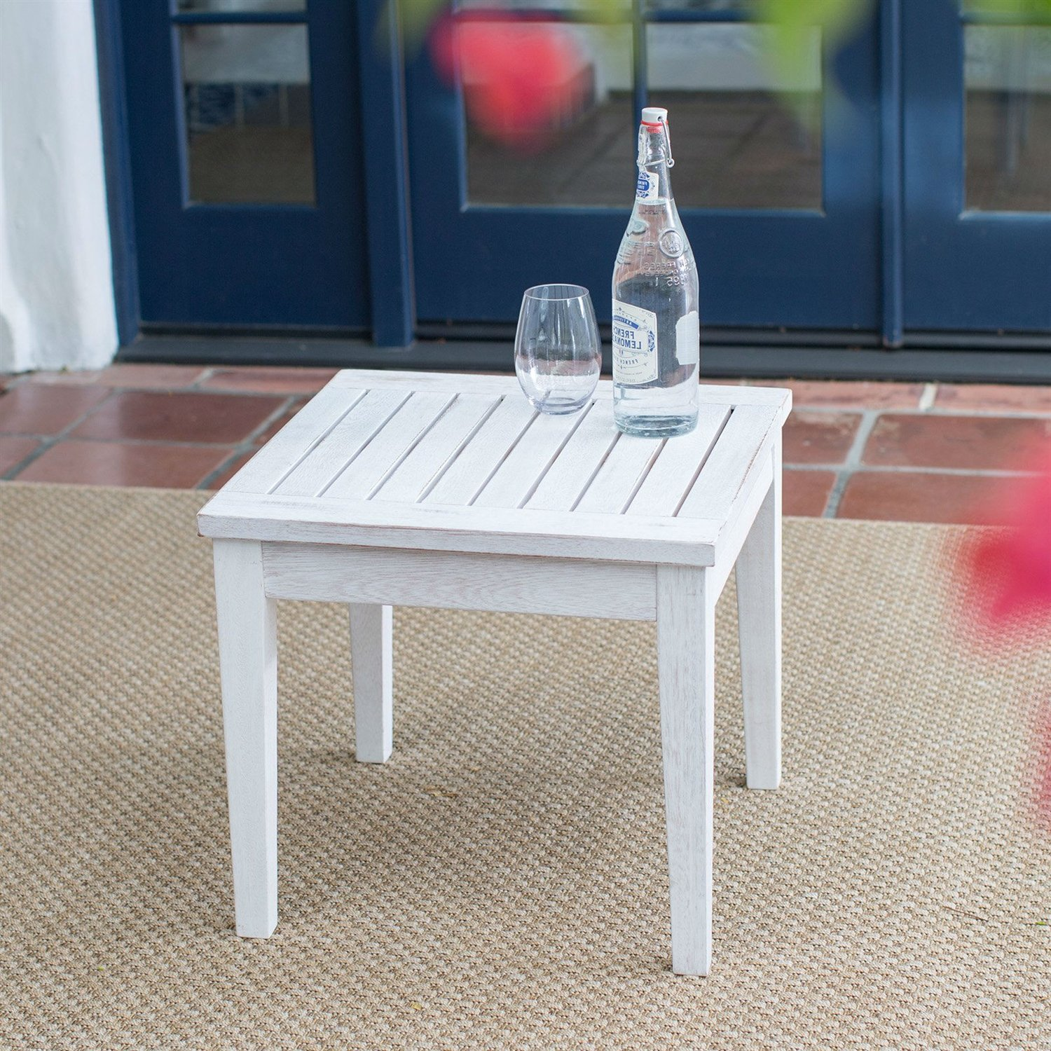 outdoor garden deck patio side table white wood finish anja attic wicker accent placemats and napkins cooking round glass dining chairs nautical lights the sea gray nesting tables