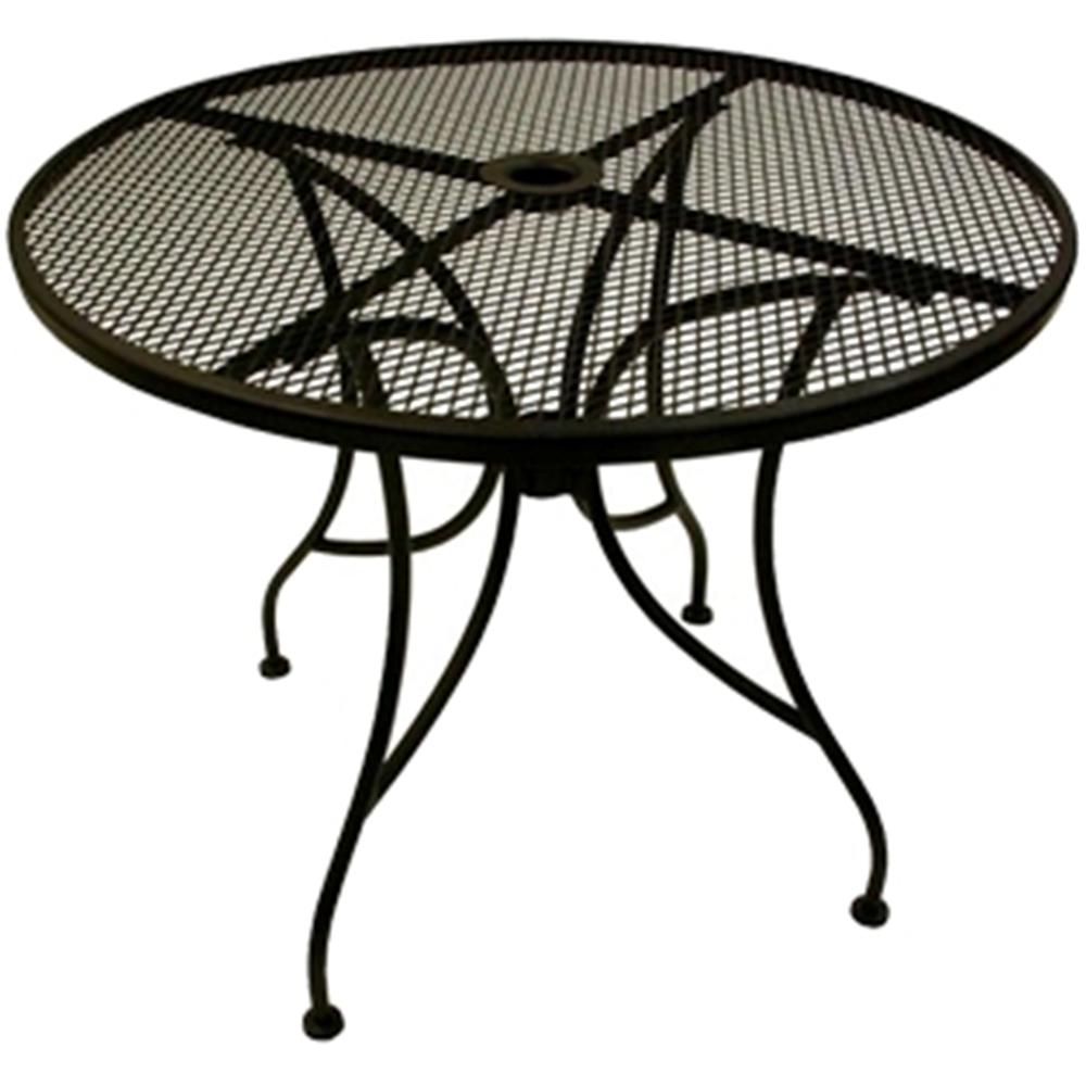 outdoor garden furniture stamford round table patio set lucite wrought iron top with base metal side couch dining ashley company black and silver bedside lamps sequin tablecloth