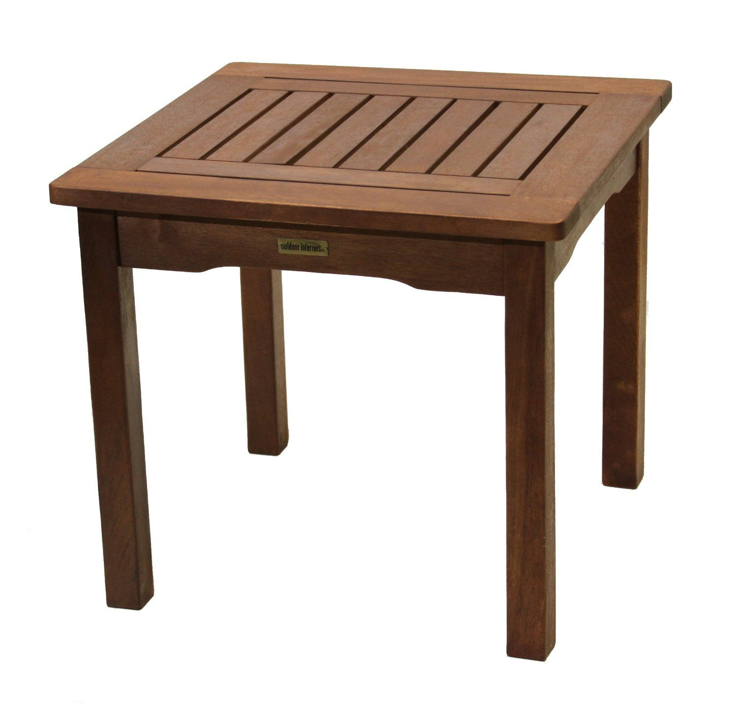 outdoor interiors eucalyptus end table patio accent tables side lawn garden blue living room chairs pier one imports locations marble white pottery barn dishes collapsible coffee