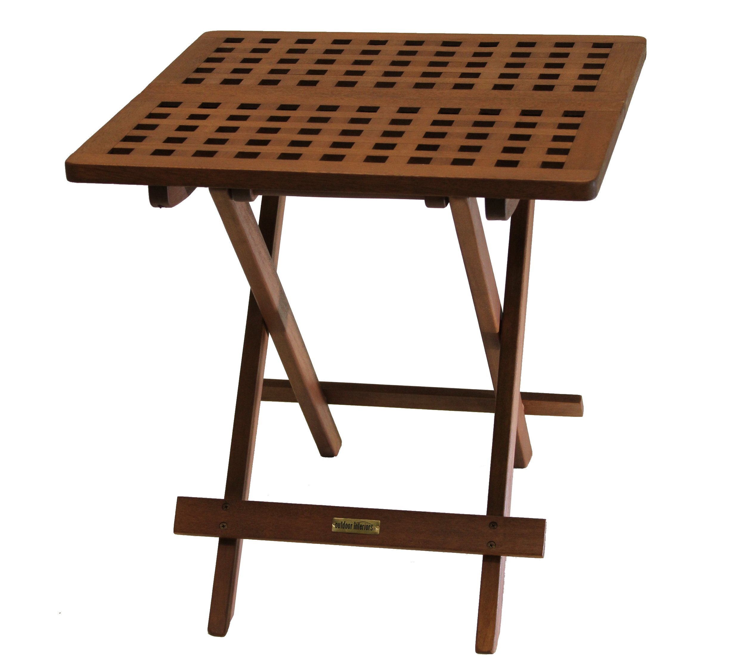 outdoor interiors eucalyptus folding side table foldable wicker accent brown fully assembled patio tables garden oak glass coffee unique entryway indoor teak furniture cast metal