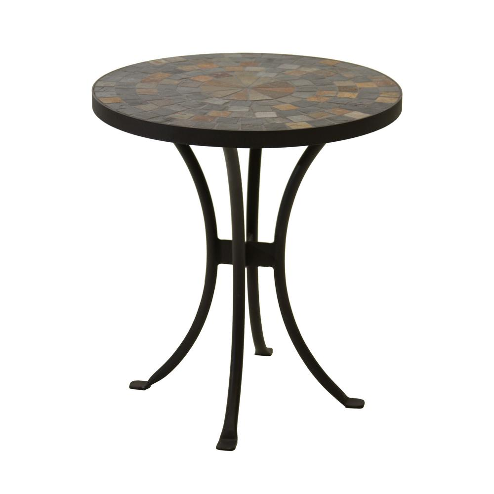 outdoor interiors round rustic slate metal accent side tables threshold mosaic table tiffany stained glass chandelier unfinished end pier one furniture battery operated lamp