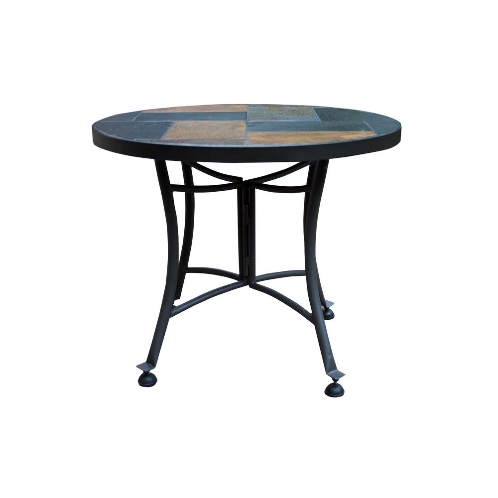 outdoor interiors round rustic slate metal accent table side tables threshold windham cabinet red cover yuma furniture dining room legs tile patio set covers dresser with mirror