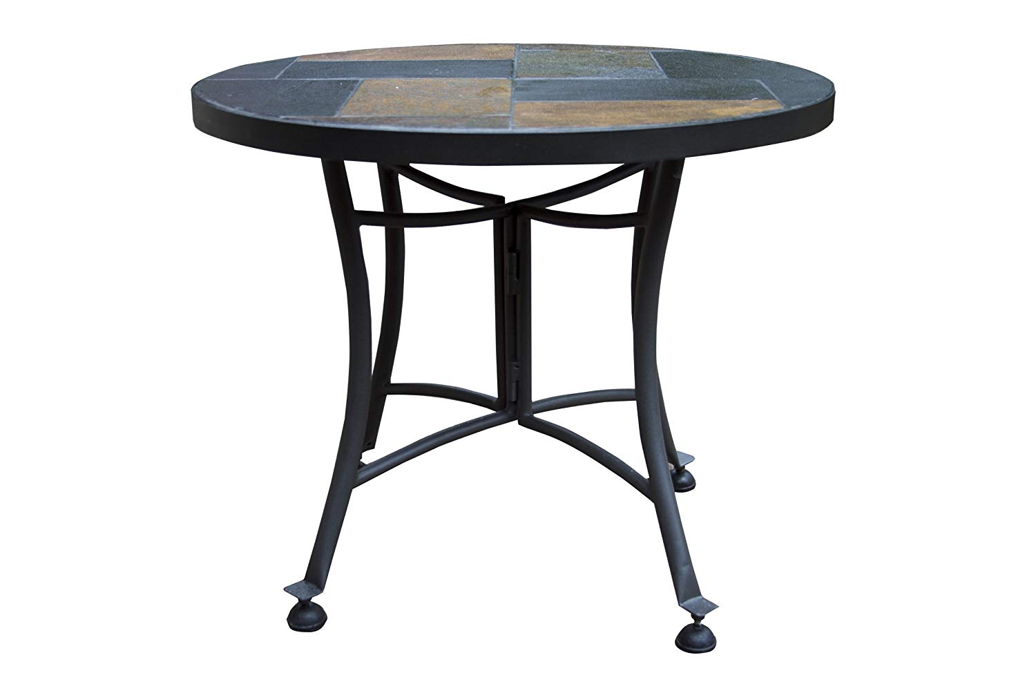 outdoor interiors slate mosaic accent table with metal cbwvql stone base inch charcoal garden desk trestle legs decorative trunks chestnut antique brass folding glass coffee wall