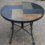 outdoor interiors slate mosaic accent table with metal stone base inch charcoal garden nautical ornaments wrought iron bistro set reclaimed wood coffee glass corner wall wine 150x150