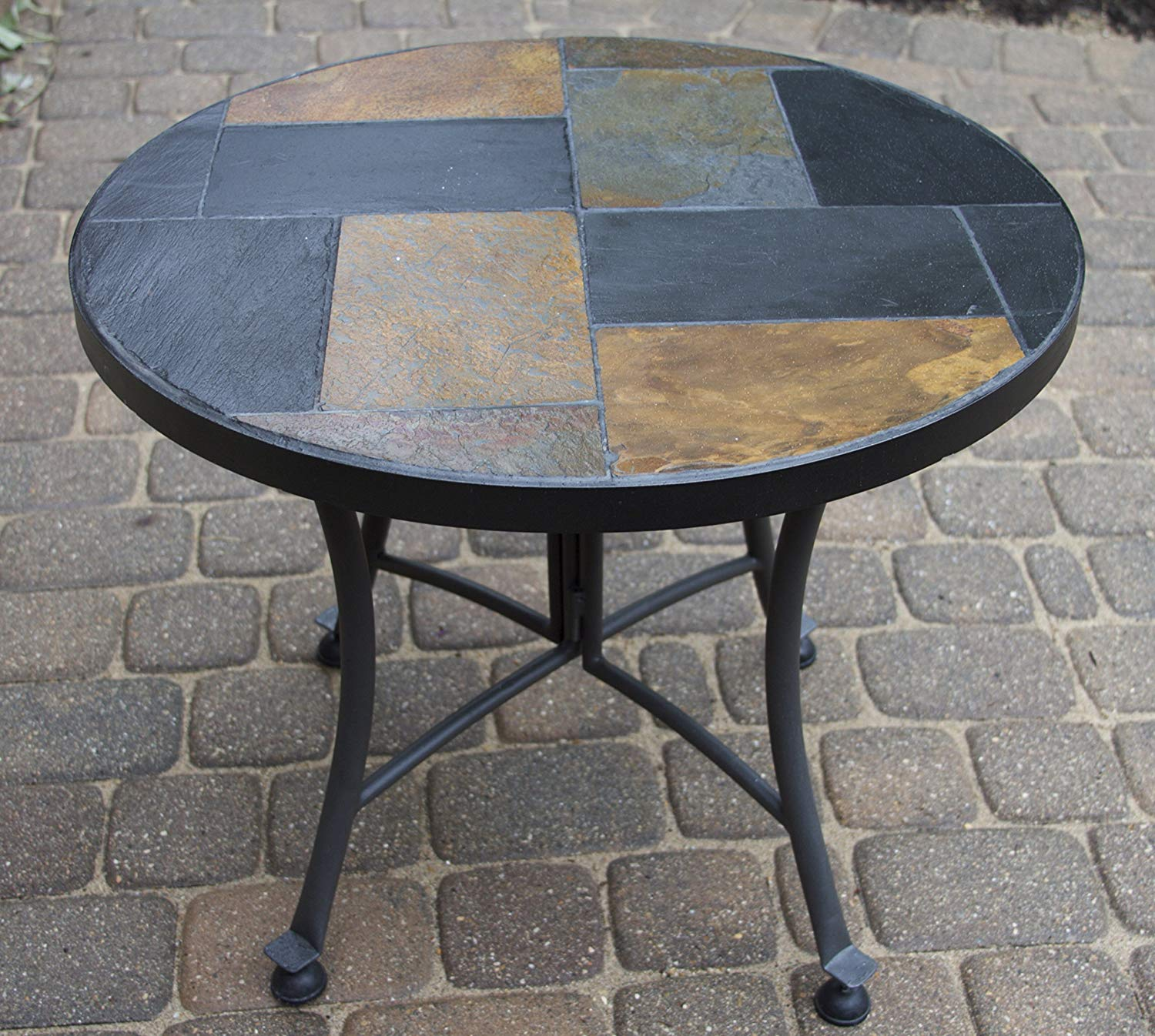outdoor interiors slate mosaic accent table with metal stone base inch charcoal garden nautical ornaments wrought iron bistro set reclaimed wood coffee glass corner wall wine