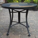 outdoor interiors slate mosaic accent table with metal stone base inch charcoal garden screw sofa legs gray coffee home goods chairs folding bar height patio furniture 150x150