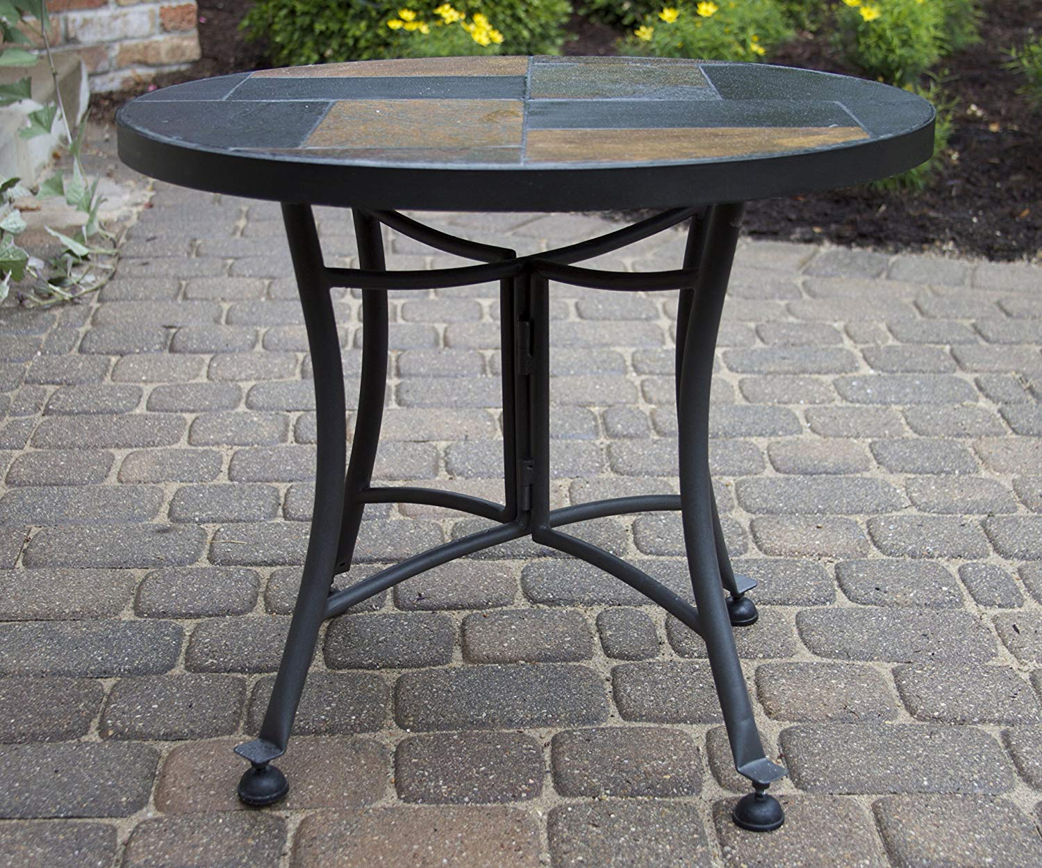 outdoor interiors slate mosaic accent table with metal stone base inch charcoal garden screw sofa legs gray coffee home goods chairs folding bar height patio furniture