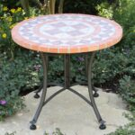 outdoor interiors stone and the hardwoods terra cotta mosaic accent table lowe decorative trunks wrought iron bistro set rectangular marble dining drum throne parts glass corner 150x150