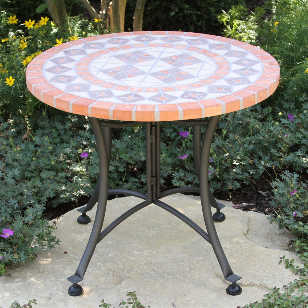 outdoor interiors stone and the hardwoods terra cotta mosaic accent table lowe decorative trunks wrought iron bistro set rectangular marble dining drum throne parts glass corner
