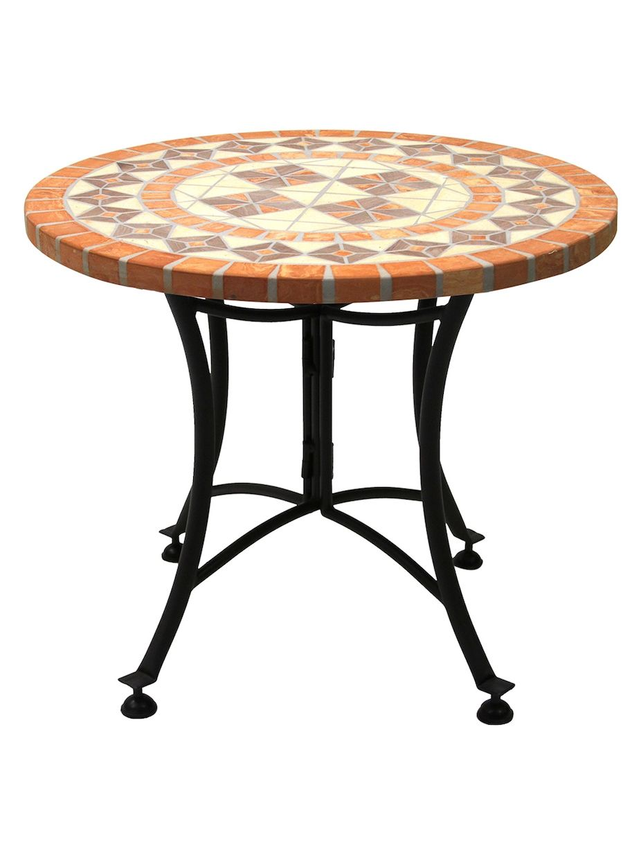 outdoor interiors terra cotta mosaic accent table bathroom indoor wire basket leaf battery operated side lamps black metal and wood coffee buffet sideboard square lucite round