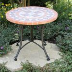 outdoor interiors terra cotta mosaic accent table with zaltana metal base inch charcoal garden ikea bedside drawers rattan side glass top dining sets target dressing mid century 150x150