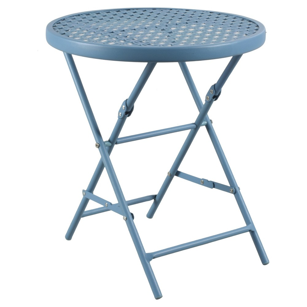 outdoor metal folding accent table blue room essentials lagoon patio turquoise opaque clear lucite desk farmhouse dining set tray side bar top height mosaic tile small teak high