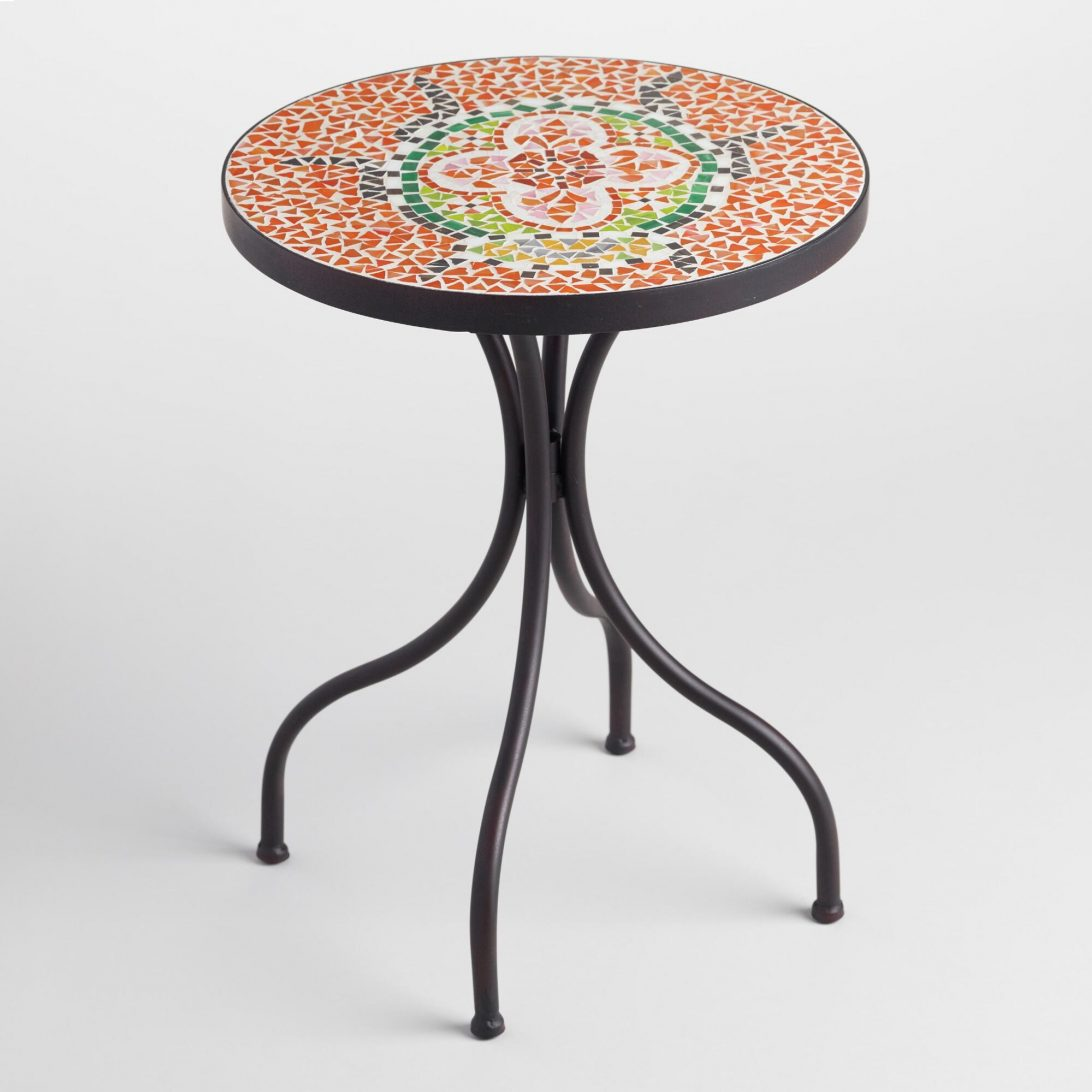 outdoor mosaic accent table zaltana tile side awesome home device charging end black gloss sideboard futon target pier one imports patio furniture rattan glass top white wicker