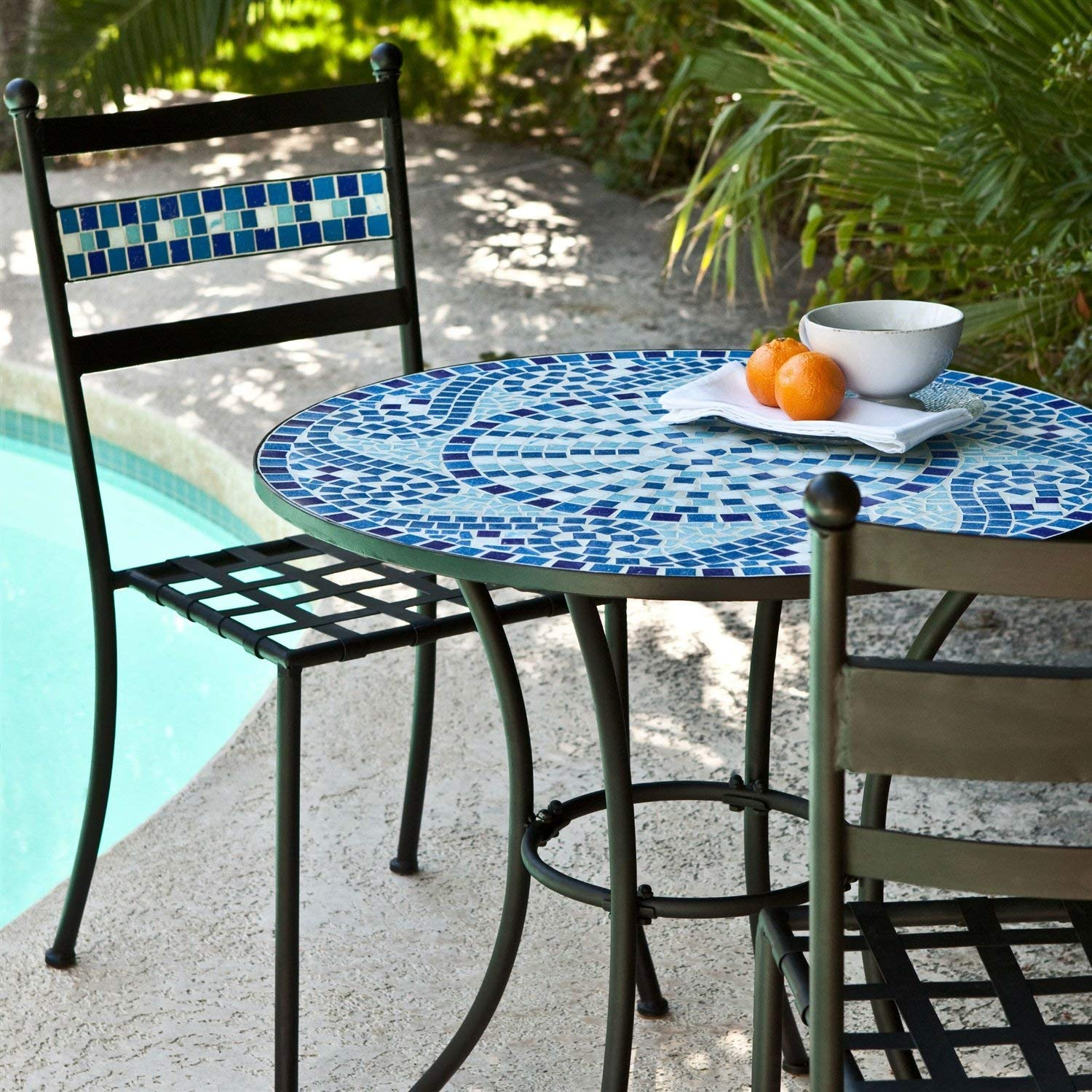 outdoor mosaic art find line zaltana accent table get quotations starsun depot piece aqua blue tiles patio furniture bistro set black gloss sideboard white wingback chair teal