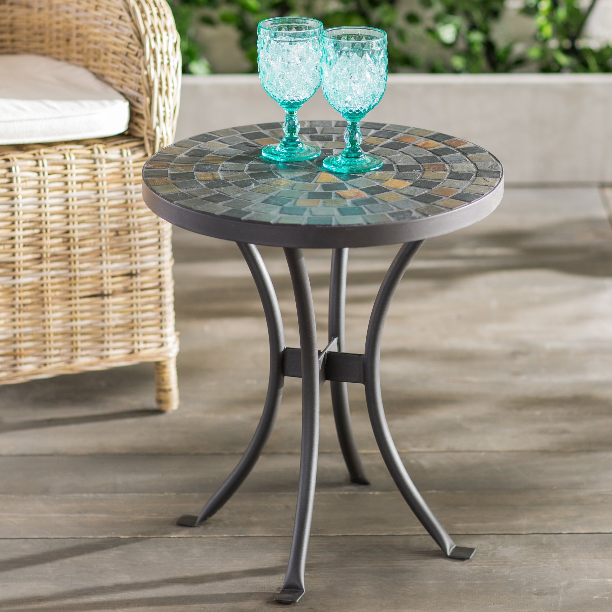 outdoor mosaic side table accent round coffee tables for small patio brie beachcrest home res balcony new black mirrored hurricane lamp aluminum bedside light affordable designer