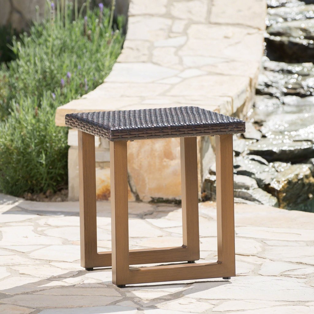 outdoor multi brown wicker side table with matching aluminum legs noble house furniture painted accent tables very thin console home office luxury living room nic and bench