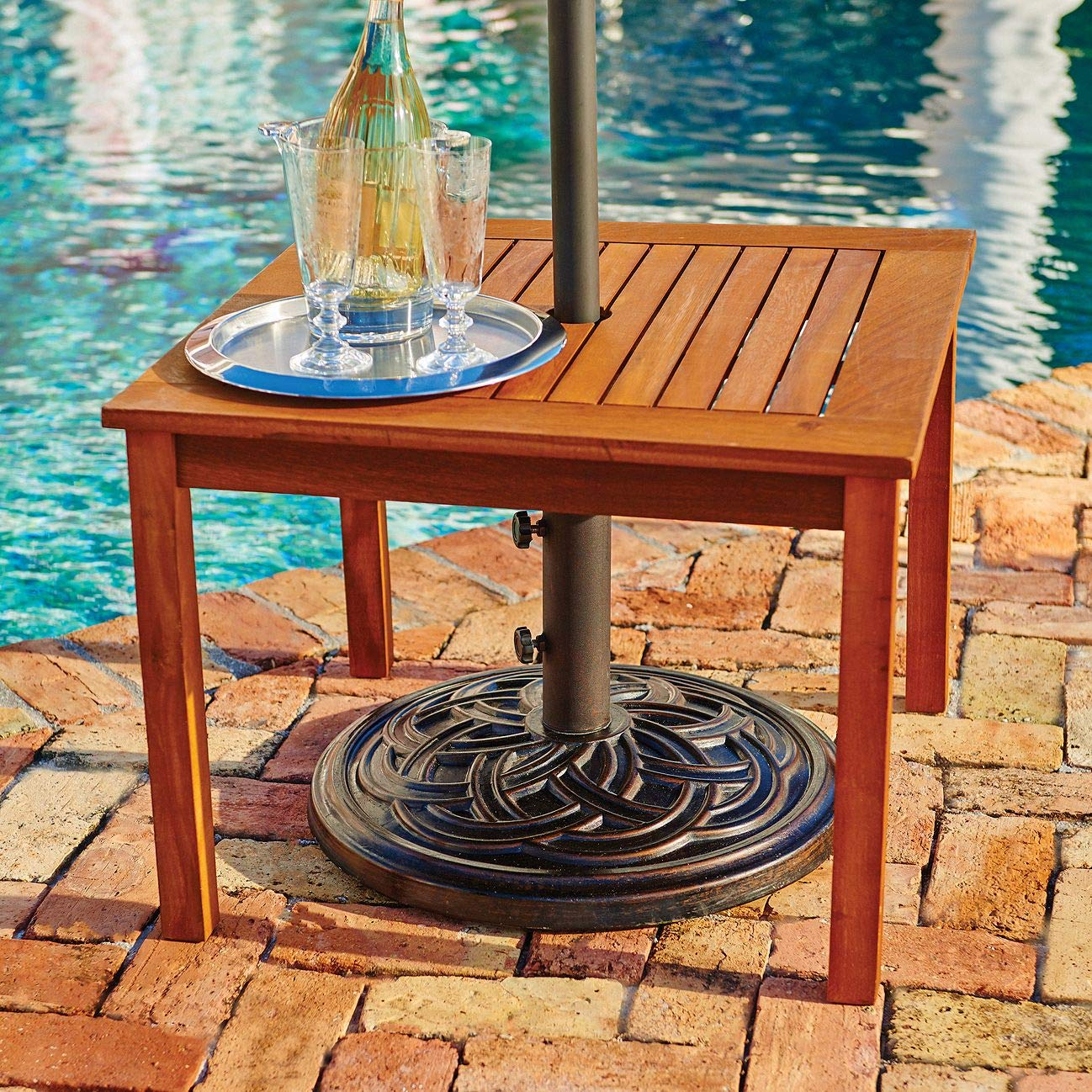 outdoor natural finish eucalyptus wood umbrella side wijhl table end patio pool furniture garden dining accents tulip marble umbrellas rattan tables with glass top kirklands wall