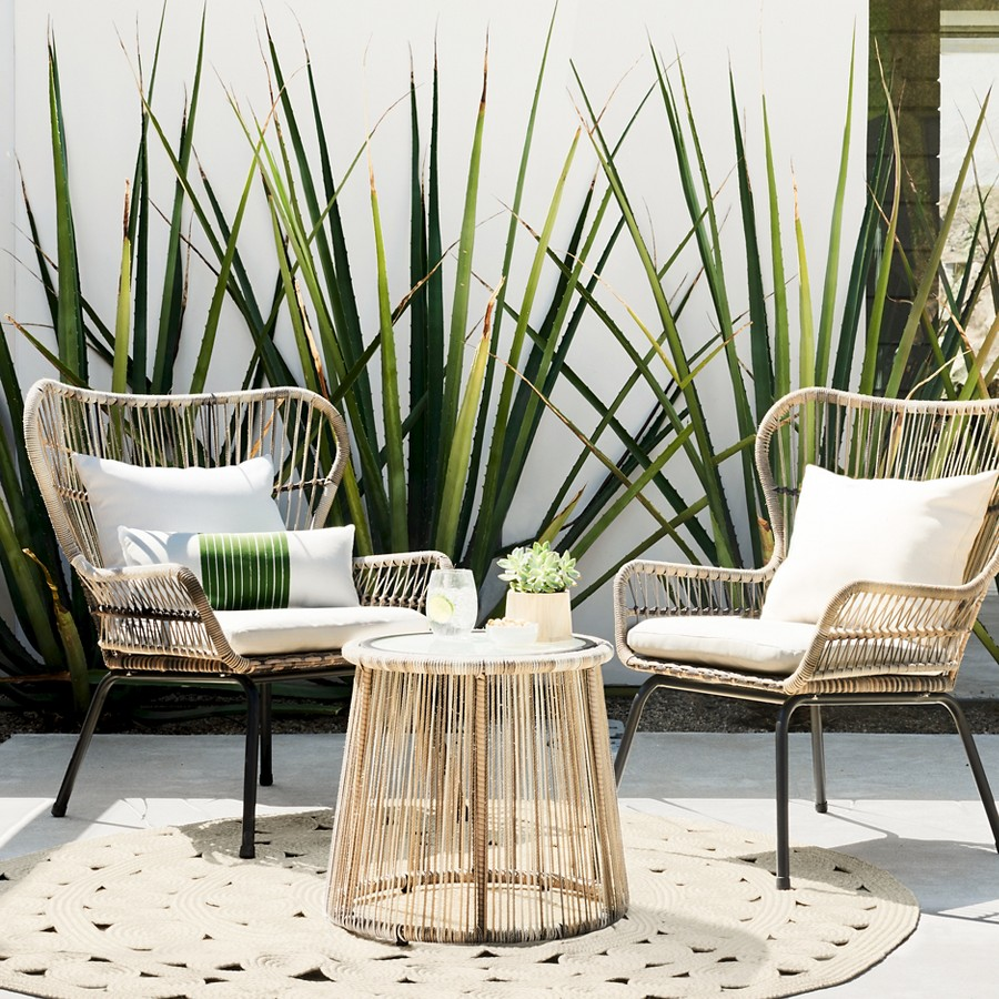 outdoor patio furniture set latigo rattan chat accent table tan threshold original steel end tripod lamp dining chair long central pottery barn bedroom black modern side deep