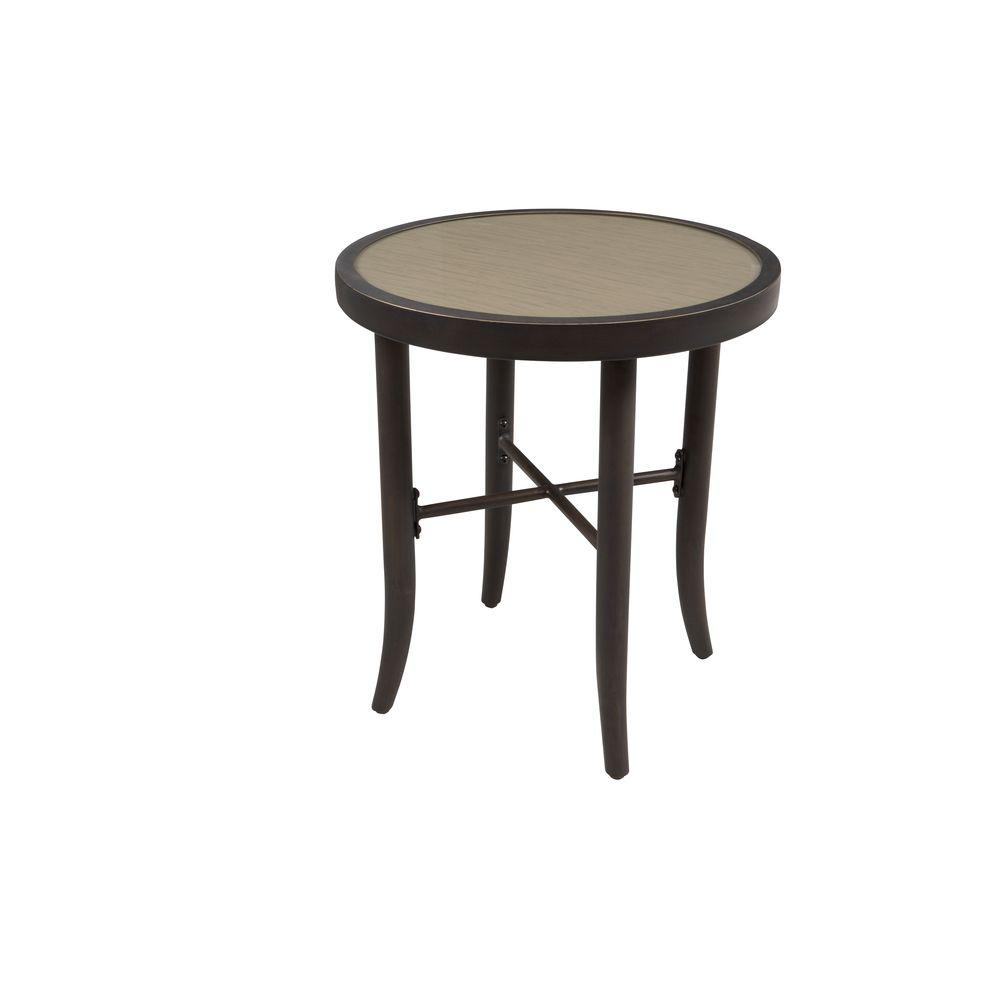outdoor patio side table silkscreen printed glass top subtle wood hampton bay tables grain stool narrow white metal pedestal base industrial storage coffee west elm kmart cushions