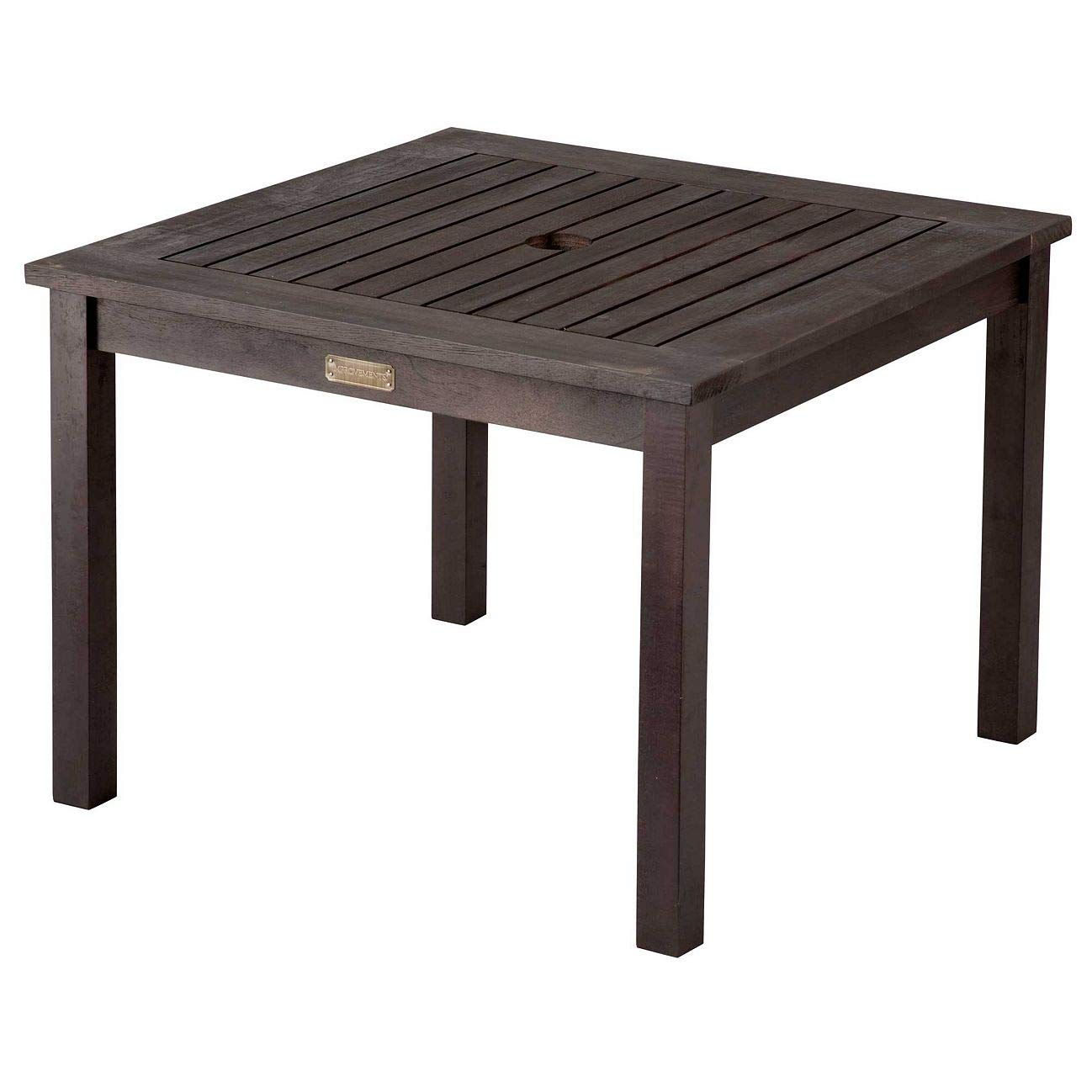 outdoor rustic espresso finish eucalyptus wood umbrella side table end patio pool furniture garden round concrete cream tablecloth simple console metal threshold cover pier