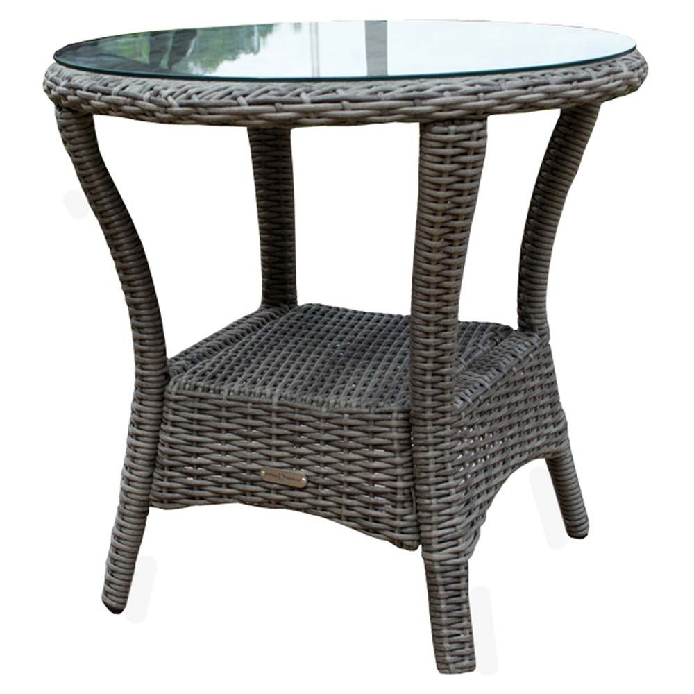 outdoor setting side table black wicker furniture small patio accent asian bedside lamps decoration ideas for parties with wine rack below stone coffee counter pub umbrella hole