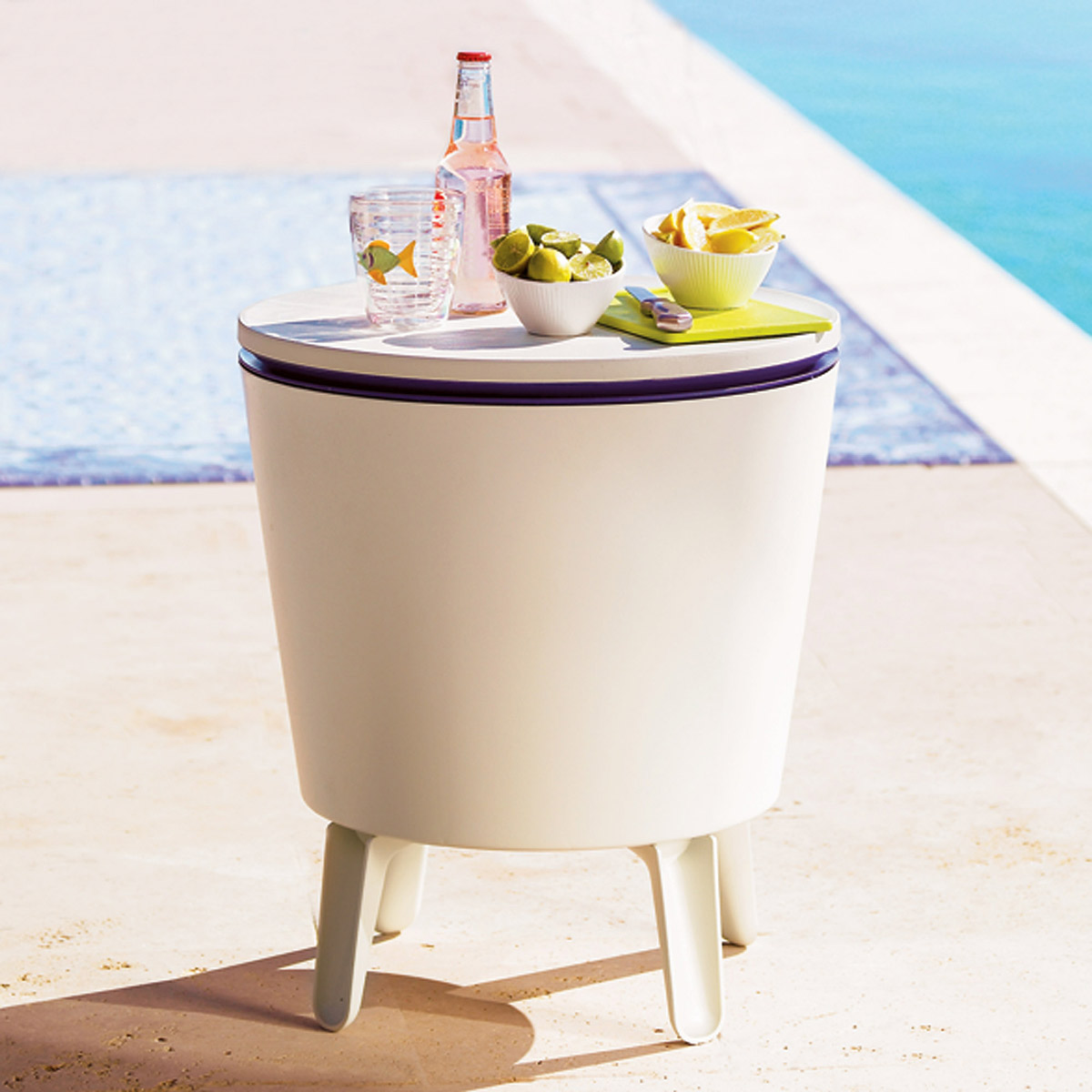 Outdoor Side Table Beverage Cooler World Market Mirrored With Drawer Pottery Barn Round Gl Coffee Kmart