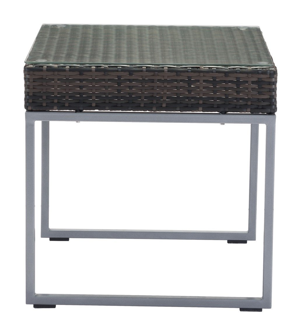 outdoor side table brown weave tempered glass silver frame end tables alan decor bathroom tubs cast aluminum pottery barn changing target lounge chairs round concrete garden black