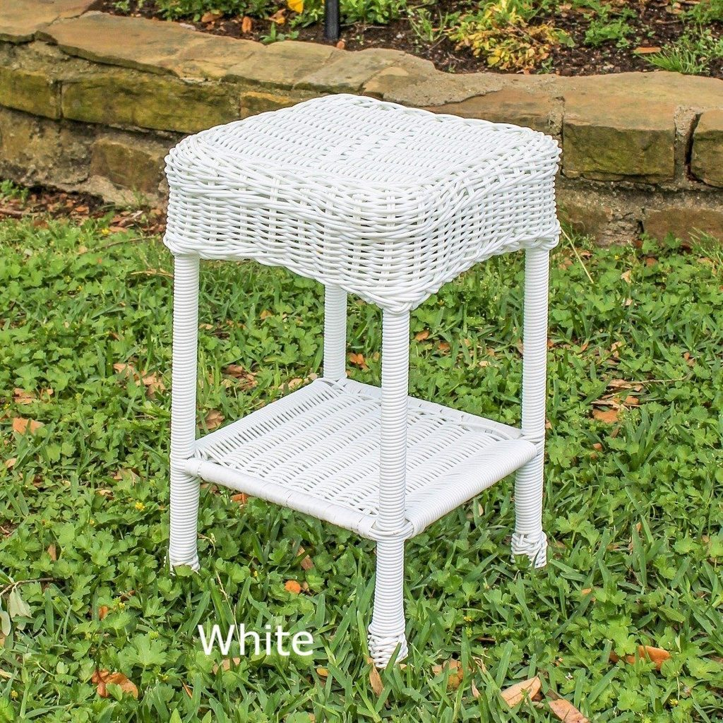 outdoor side table resin wicker steel maui backyard decor furniture dining chairs with arms deck tables gold accent set narrow telephone bar height legs wood xmas tablecloth lamp