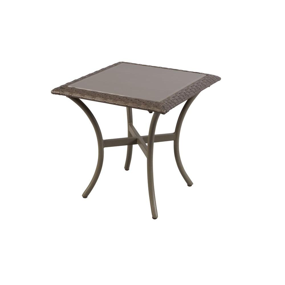 outdoor side tables patio the hampton bay metal table glass top white tray ashley furniture company with wheels screw desk legs clearance tool storage reproduction designer tall