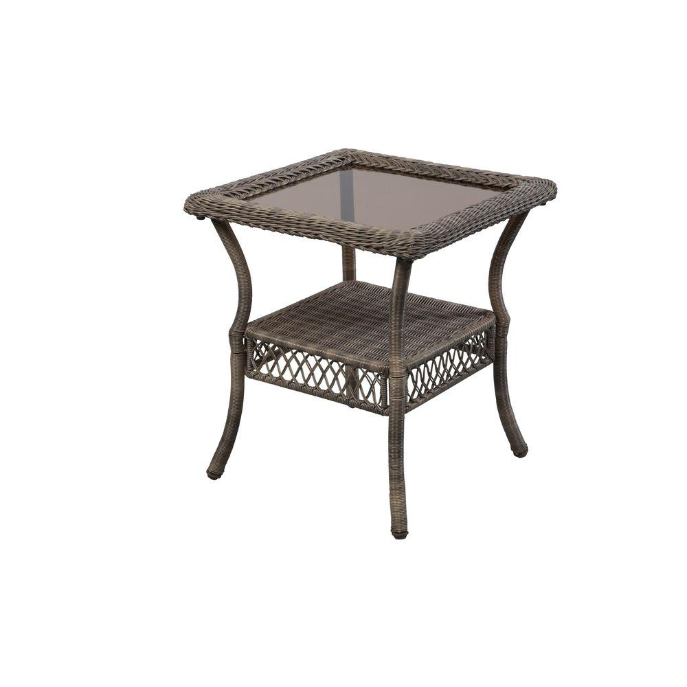 outdoor side tables patio the hampton bay metal table spring haven grey wicker solid pine coffee black and silver bedside lamps antique round marble top cherry wood dinner macys