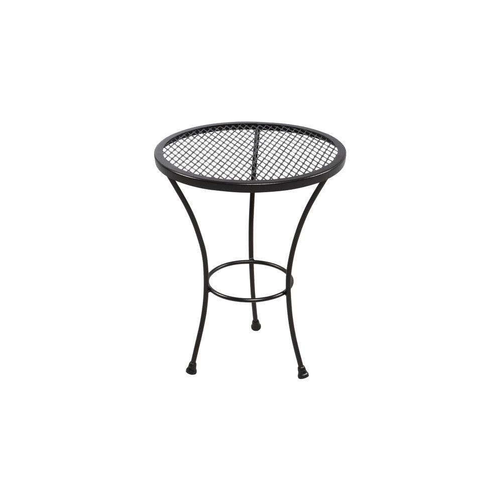 outdoor side tables patio the hampton bay round metal accent table jackson kitchen room furniture wrought iron dinner lovell target bunnings chairs and mirrored desk white marble