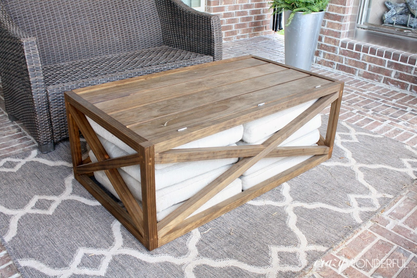 outdoor table probably perfect fun diy end plans coffee industrial ana white with storage crazy wonderful cooler round wood easy ideas pallet patio simple designs woodworking made