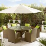 outdoor umbrella table children and chairs with tablecloth hole broyerk brown rattan patio stand accessories side full size pier papasan chair iron frame queen metal threshold 150x150