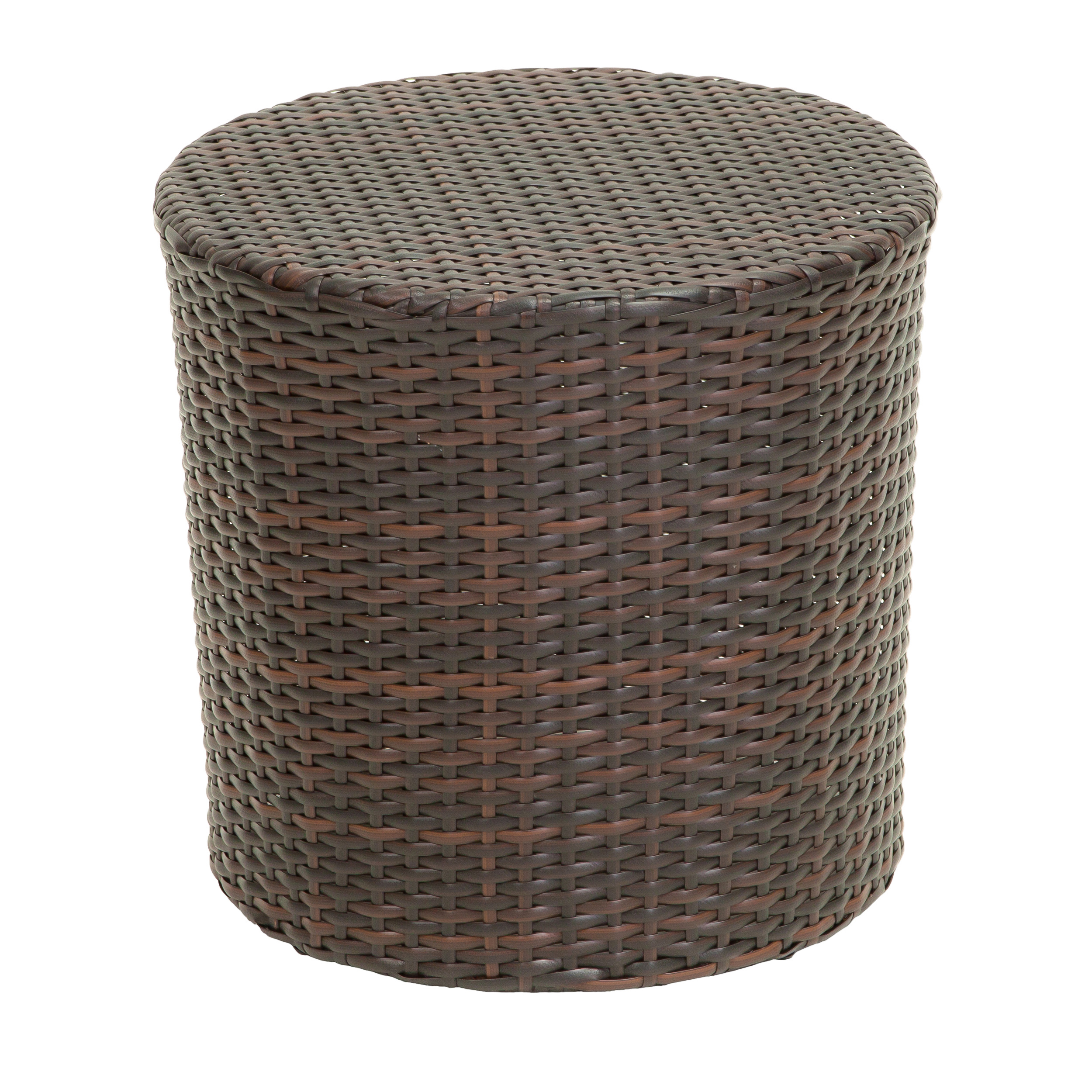 outdoor wicker barrel side accent table brown teak furniture vancouver chair lucite coffee base antique green rod iron round glass top ballard designs cushions nic and bench lamps