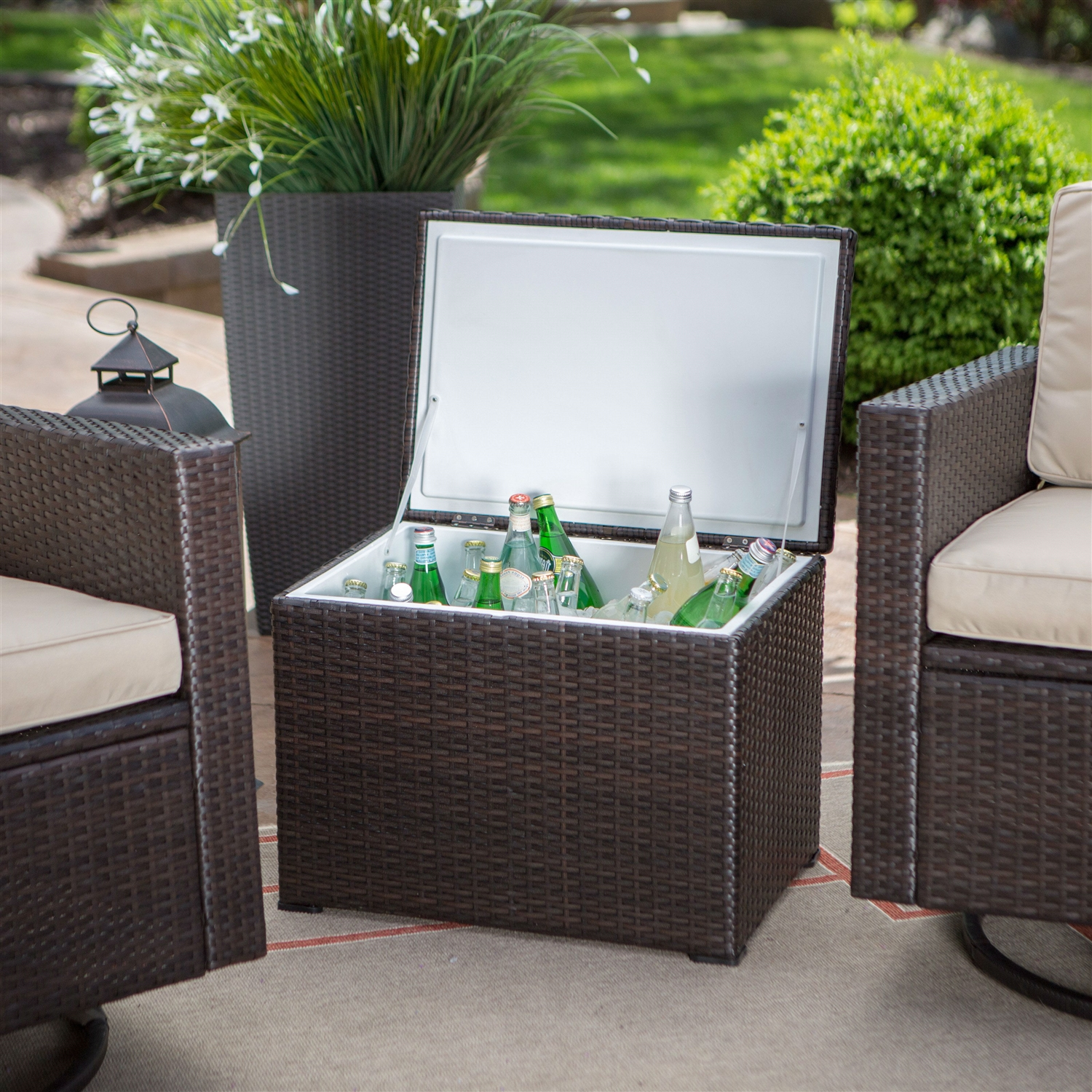 outdoor wicker resin piece patio furniture set with chairs and side table cooler retail gray lamps mat design world market mirror lights emerald green accent retro sideboard