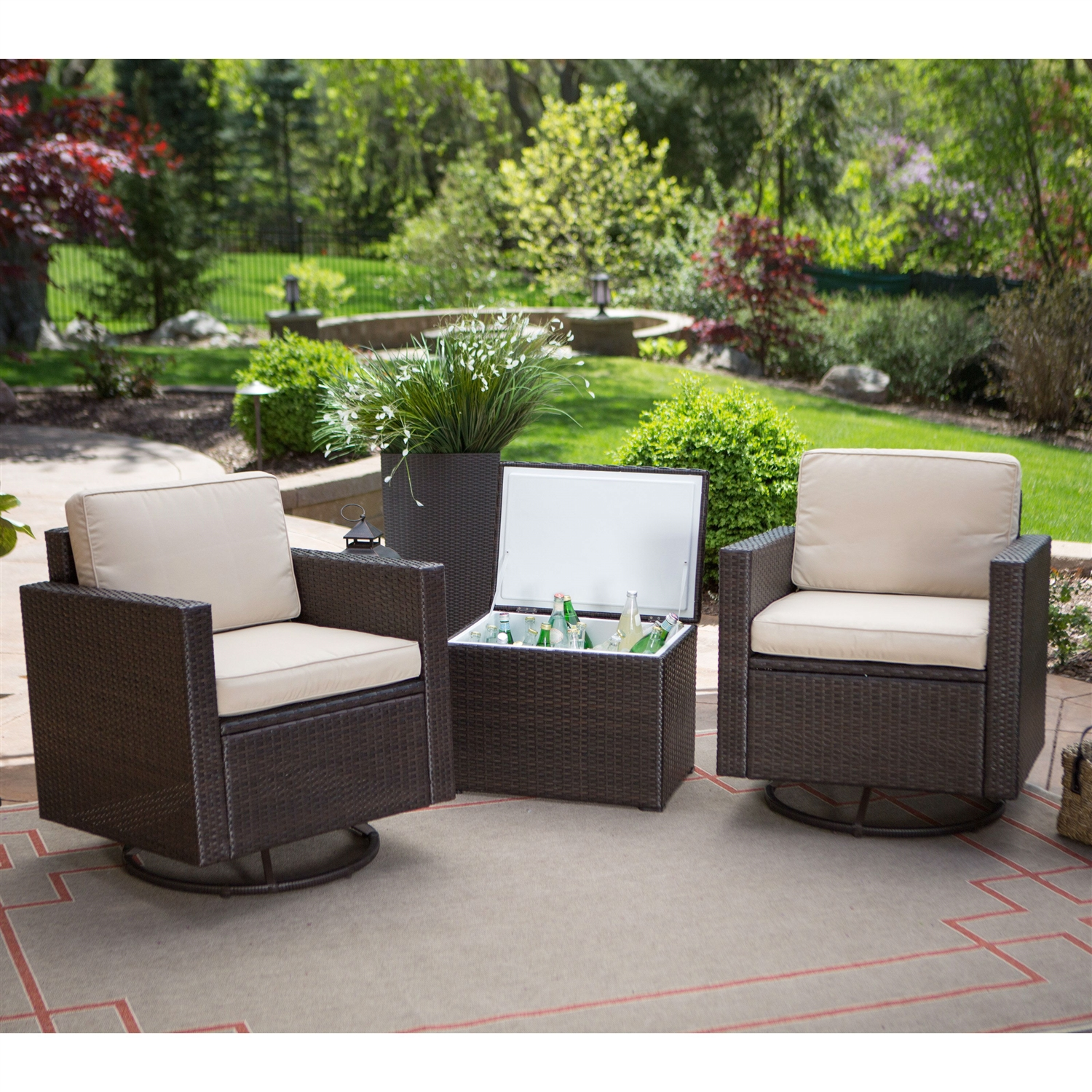 outdoor wicker resin piece patio furniture set with chairs and side table cooler storage brown end tables free patterns for quilted runners toppers glass top corner round acrylic