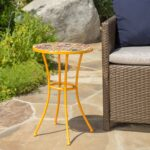 outdoor yellow ceramic tile side table with iron frame noble prev pier one clearance chairs metal garden coffee antique lamps small crystal accent skinny wall desk for bedroom 150x150