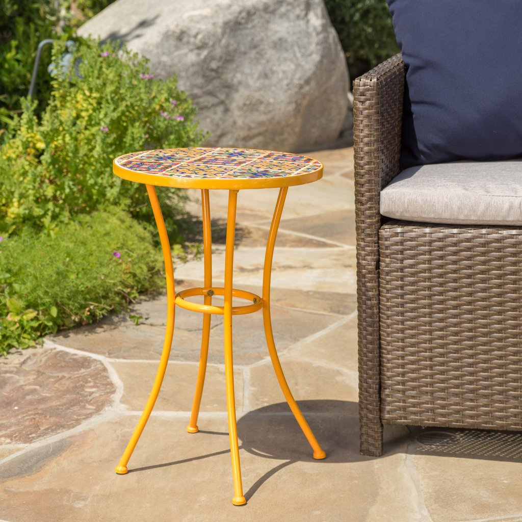 outdoor yellow ceramic tile side table with iron frame noble prev pier one clearance chairs metal garden coffee antique lamps small crystal accent skinny wall desk for bedroom