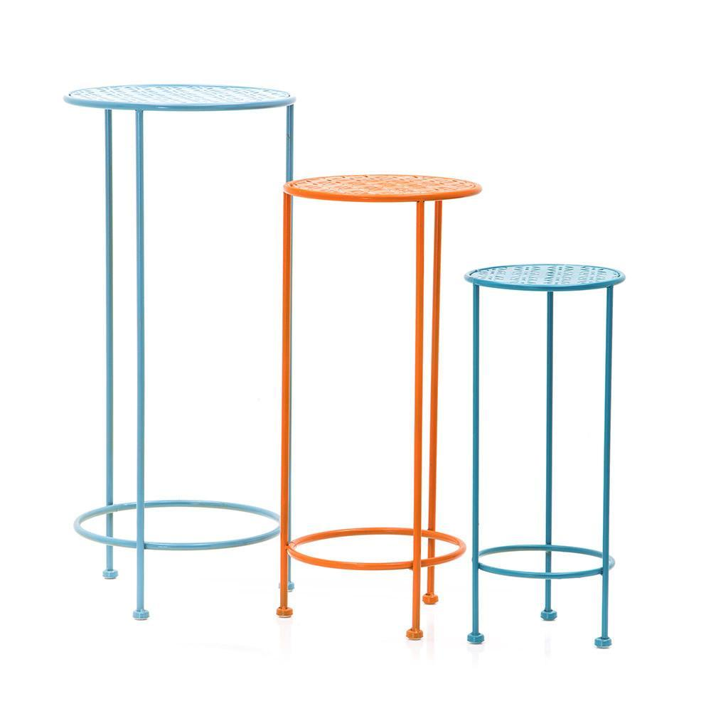 outdoors outdoor tables side tagged metal table aqua blue and orange three tier set round pedestal dining brass end glass top new vintage furniture piece coffee black silver